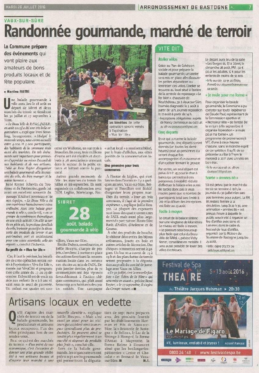 Article Marché de Terroir Vaux